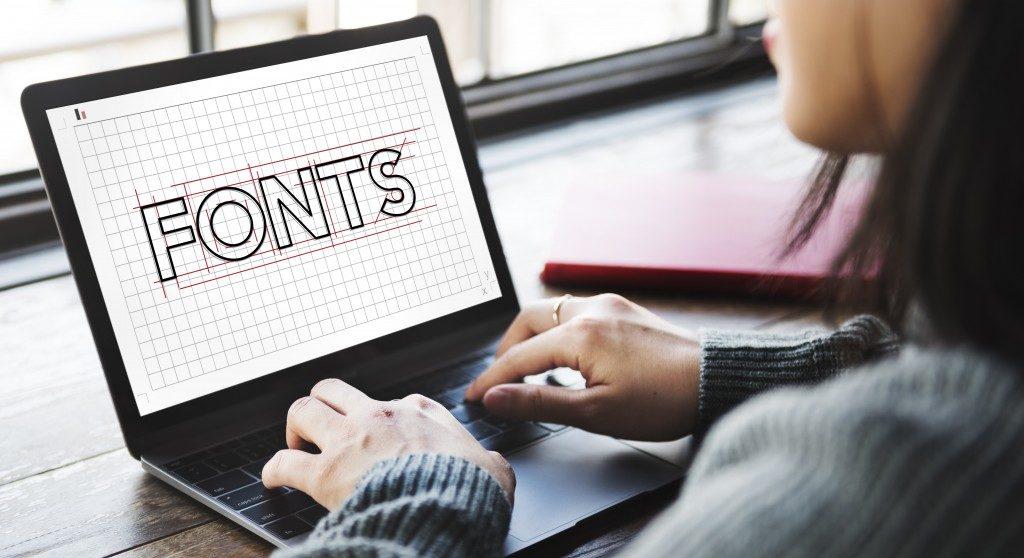 fonts written on a laptop